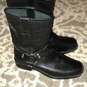 Frye black moto style boots